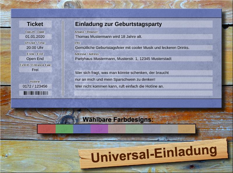 Universal Geburtstag Einladungskarten Blau