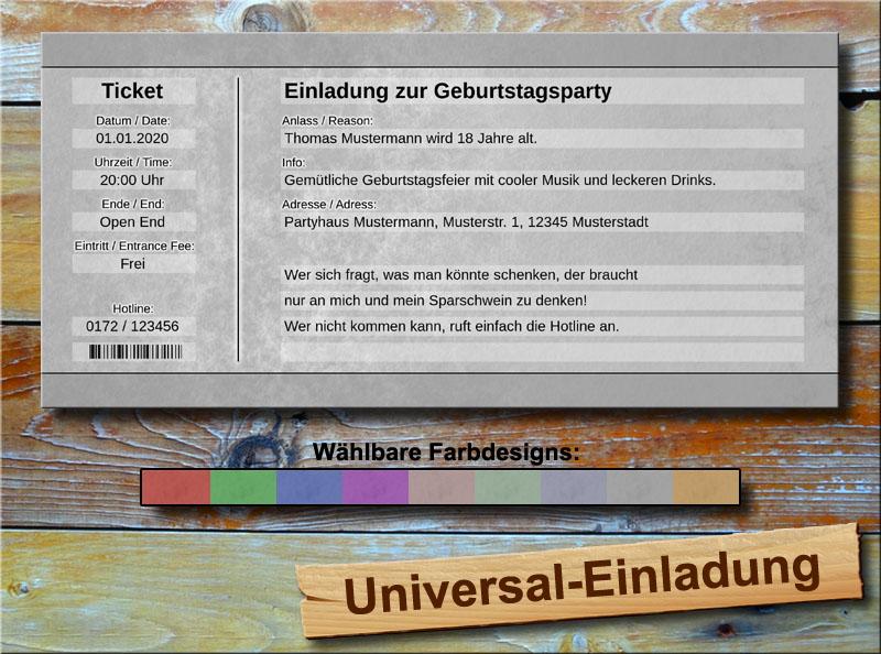 Universal Geburtstag Einladungskarten Silbergrau