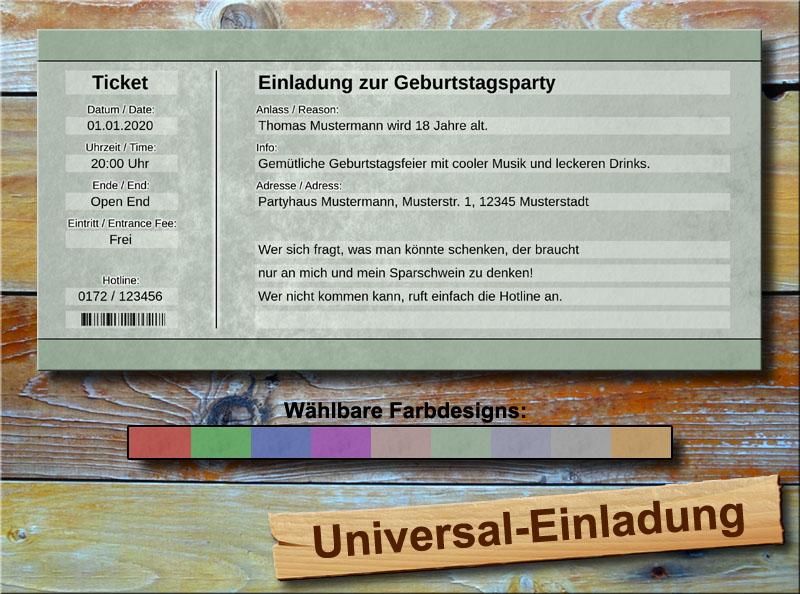 Universal Geburtstag Einladungskarten Soft Grün