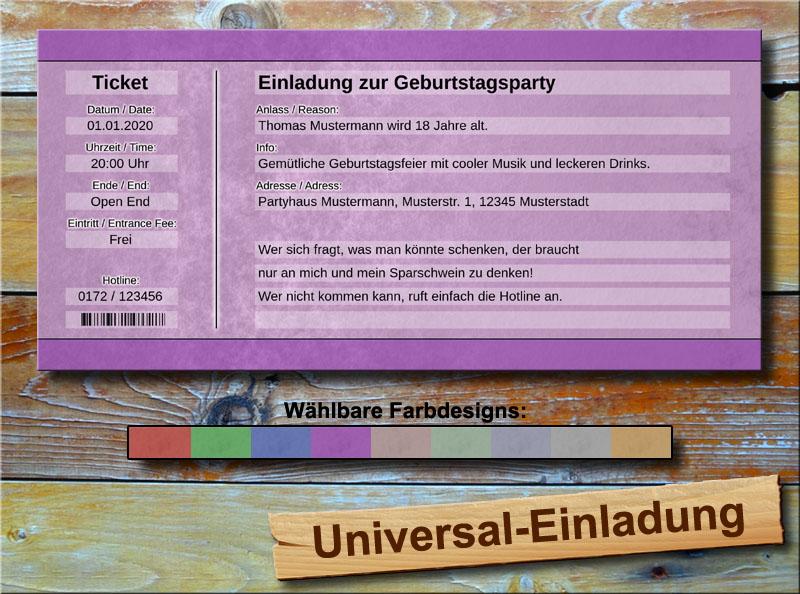 Universal Geburtstag Einladungskarten Lila