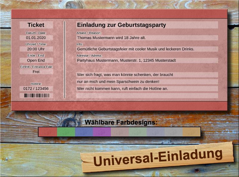 Universal Geburtstag Einladungskarten Rot
