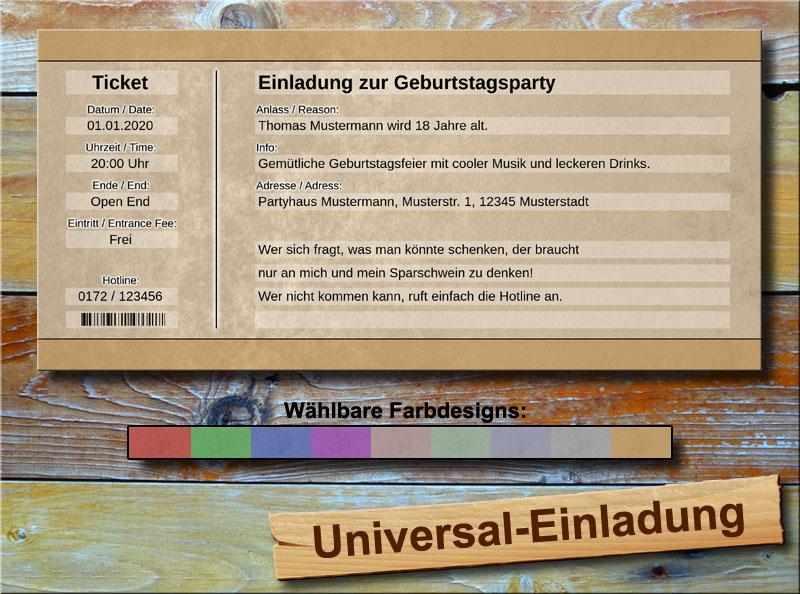 Universal Geburtstag Einladungskarten Vintage