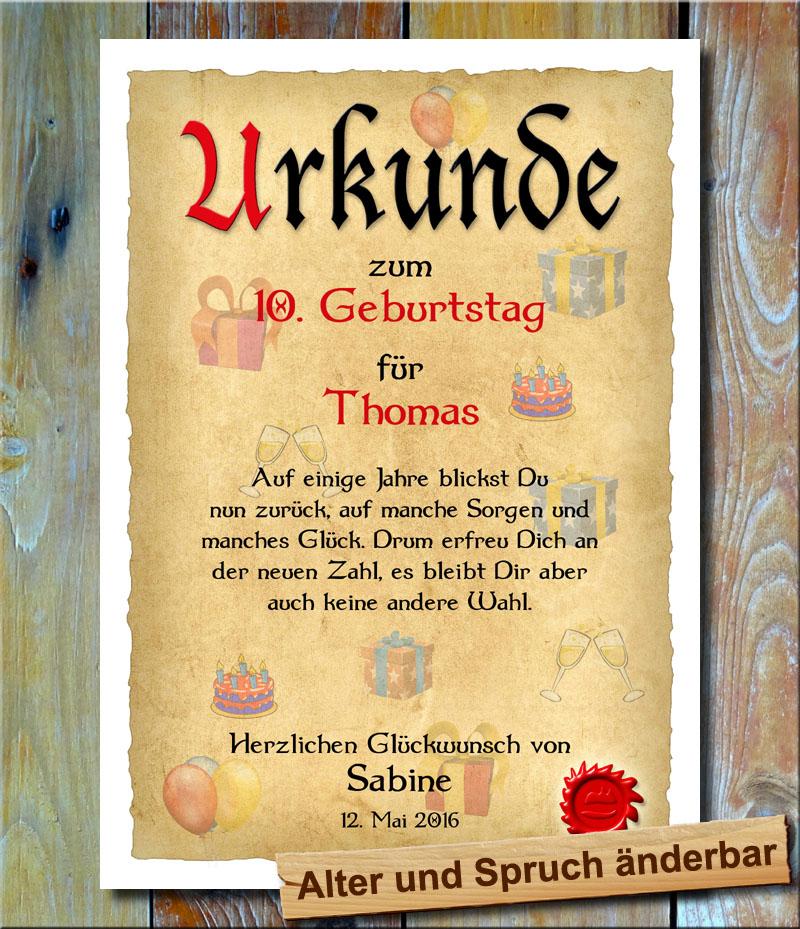 Multivorlage.de - Urkunde zum Geburtstag als Wandbild mit Spruch oder Gedicht ...