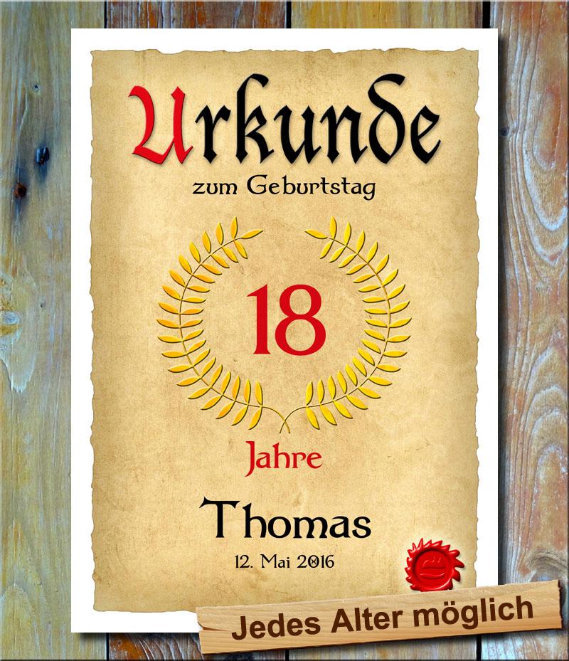 Urkunde 18. Geburtstag Lohrbeerkranz
