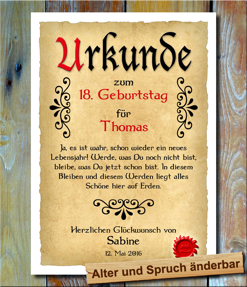 urkunde geschenkidee 18 geburtstag individueller name tattoo vollj hrig bild ebay. Black Bedroom Furniture Sets. Home Design Ideas