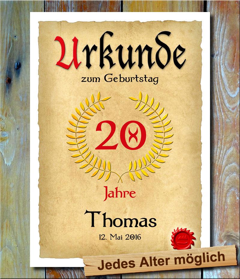 Urkunde 20. Geburtstag Lohrbeerkranz