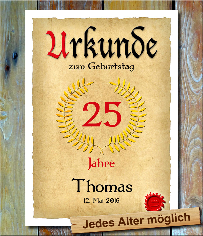 Urkunde 25. Geburtstag Lohrbeerkranz