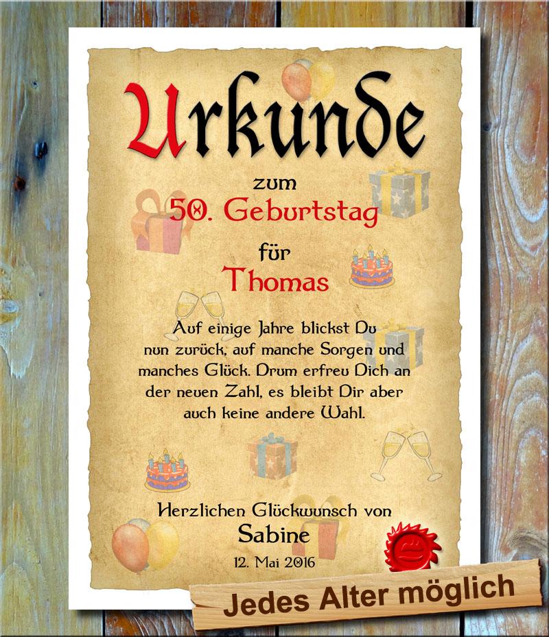 Urkunde 50. Geburtstag Geschenke