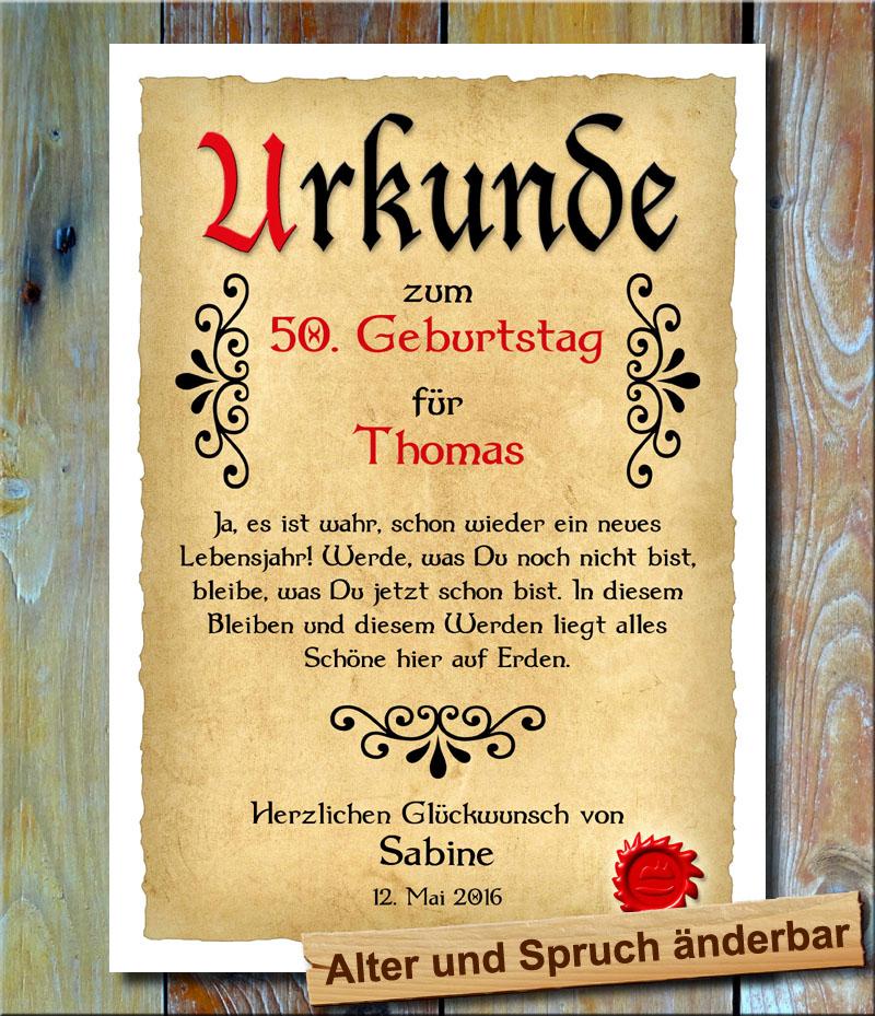 Urkunde 50. Geburtstag Ornament