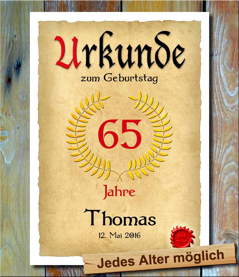 Urkunde 65. Geburtstag Lohrbeerkranz