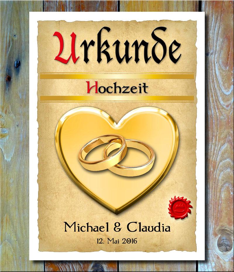 Urkunde Hochzeit Trauringe Goldherz XXL