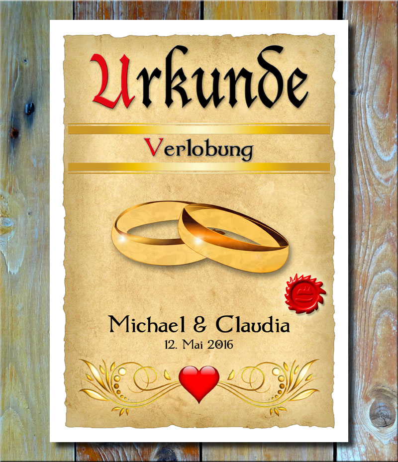 Urkunde Verlobung Goldringe
