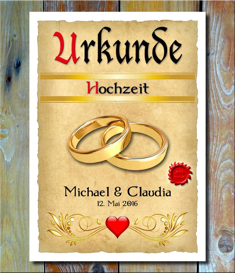 Urkunde Hochzeit Trauringe Gold