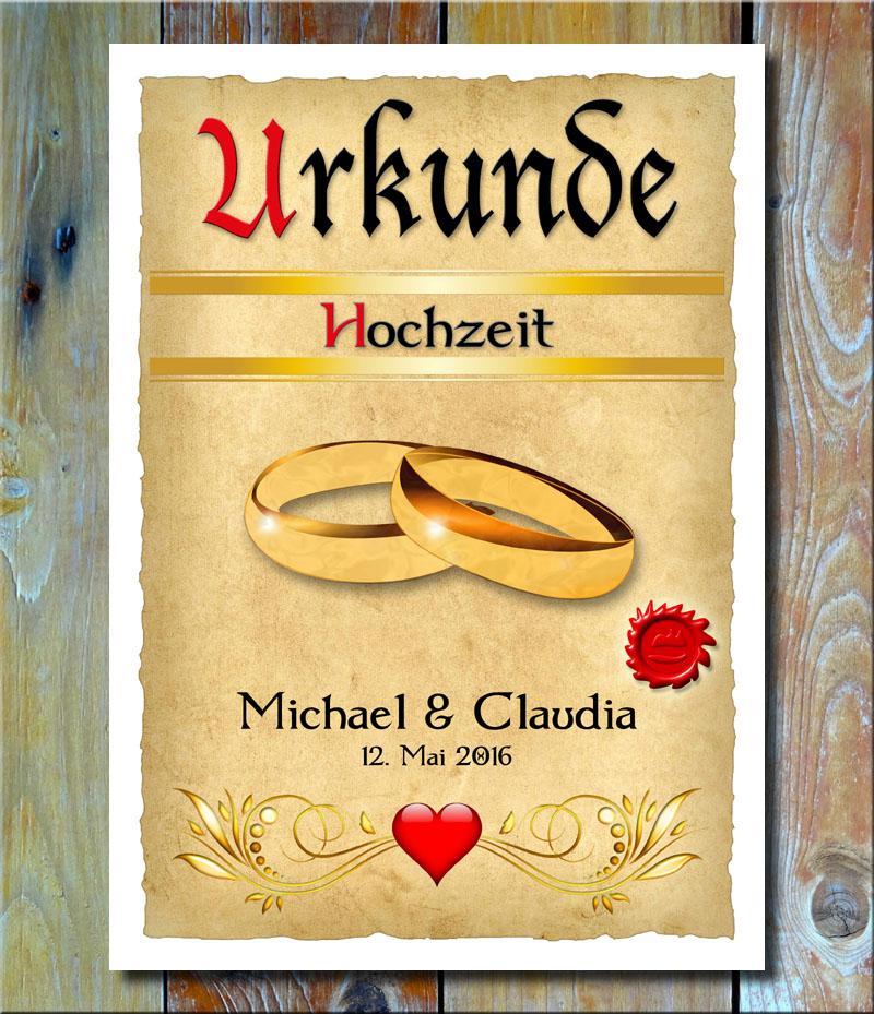 Urkunde Hochzeit Goldringe