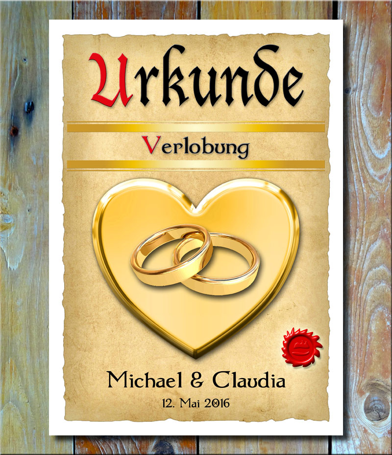 Urkunde Verlobung Verlobungsringe Goldherz XXL