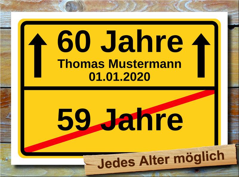 Schild 60 geburtstag namensdruck deko pers nliches for 60 geburtstag dekoration
